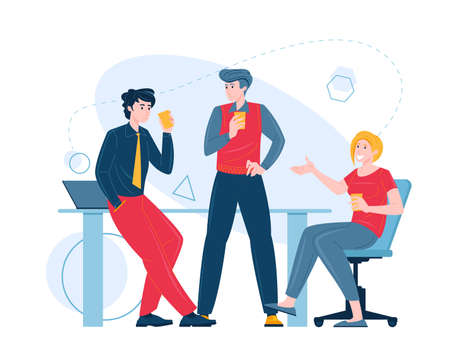 Teamwork concept flat vector illustration. Successful team men and women taking part in business meeting, negotiation, brainstorming and collaboration. Characters male and female sitting and standing.