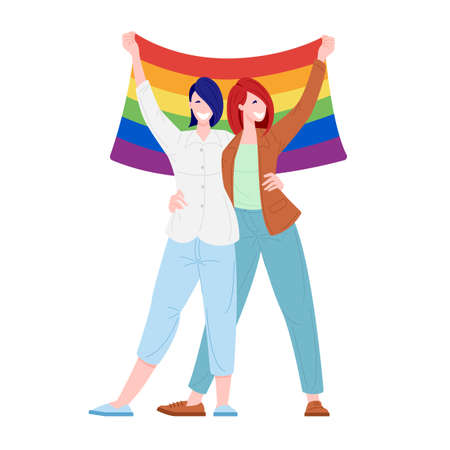 Prade pride festival concept. Homosexual female couple holding flag. Flat cartoon character vector illustration.