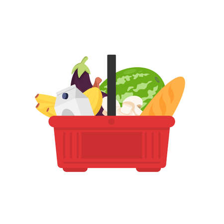 Plastic grocery cart with handles full of products, vector flat illustration. Shopping basket with food, bread, milk, mushrooms, fruits, vegetables isolated on white. Equipment for self-service store. Ilustrace