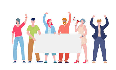 Protesting people with blank banner. Men and women on meeting against violence, pollution, discrimination, human rights violation. Flat cartoon vector illustration of demonstrators characters.