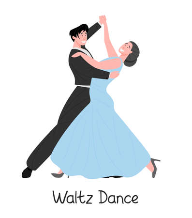 Dancing couple, flat vector illustration. Elegant male and female cartoon characters dance classic waltz. Happy romantic pair in costume and long blue dress, professional performers, isolated on white