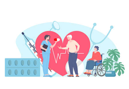 Nurse care about elderly disabled patients, vector flat social worker and senior persons on wheelchair cartoon characters in nursing home. Medicine help for aged retirees and handicapped people.