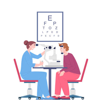 Ophthalmologist doctor examining eyesight vision of patient, vector cartoon character oculist checkup visual acuity. Eyes test procedure in hospital, illustration isolated on white background.