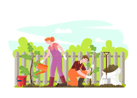 Gardening people planting trees, flat vector cartoon illustration. Male and female characters gardeners plant and water saplings with watering can. Save ecology concept, environment help.