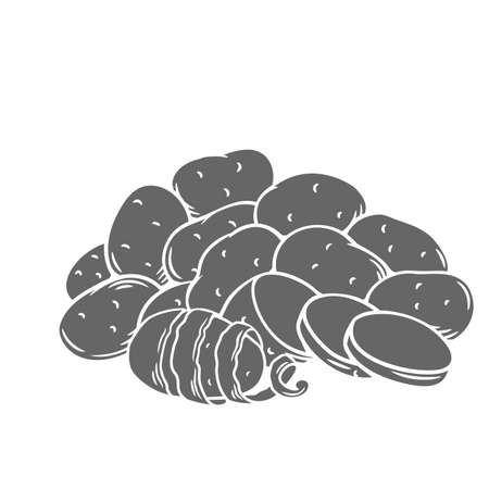 Potato tubers glyph monochrome vector illustration in retro style for store ad, market label, pile of farm potatoes. Isolated root crops whole, with twisted peel, slices