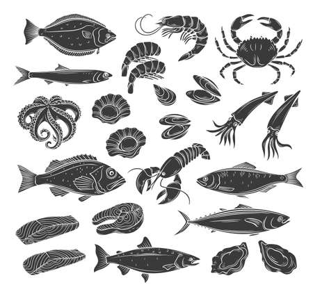 Seafood glyph icon set. Monochrome herring squid, octopus, salmon, halibut oysters and scallops. Engraved vector illustration of lobster, red perch ,crab, tuna, shellfish and mussels.