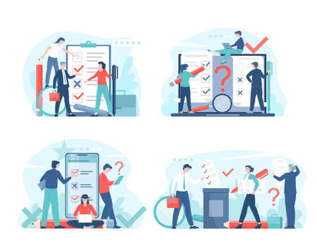 Online voting or survey concept flat vector illustration with voters making decisions. Man and woman characters with survey or choice forms, voting box, social projects and a testing.