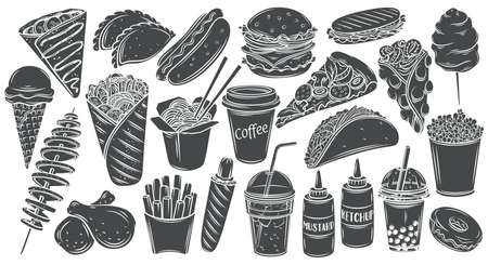 Fast food monochrome glyph isolated icon set. Hamburger, hot dog, shawarma, wok noodles, pizza and others for takeaway cafe design. Vector illustration engraved style. Vectores