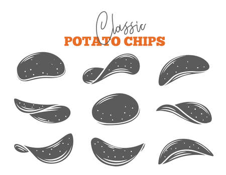 Potato chips set glyph vector illustration. Monochrome isolated crispy snack, potato in the form of crispy plates fried in vegetable oil. Snack chips collection.