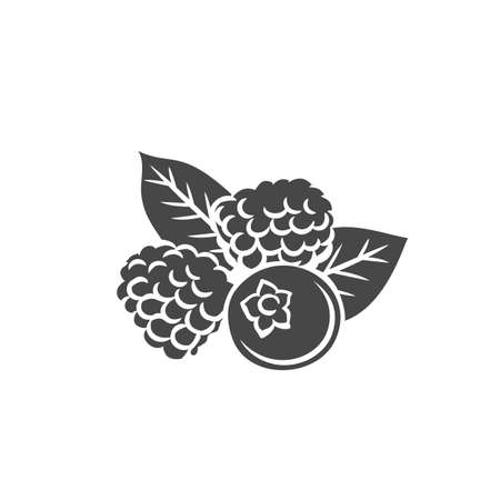 Berry glyph icon. Monochrome isolated blueberries, raspberries and blackberries. Forest or garden drawing berry. Vector illustration. Ilustração