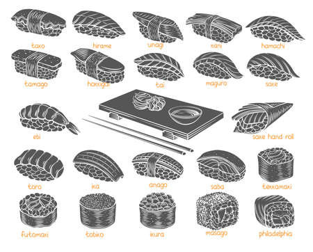 Sushi rolls glyph set. Monochrome isolated Japanese food for sushi rolls shop bar menu, banner, flyer, card and etc. Vector illustration.
