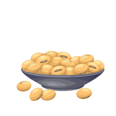 Soybean in bowl. Soy product vector illustration in cartoon style. Dry edamame beans icon.