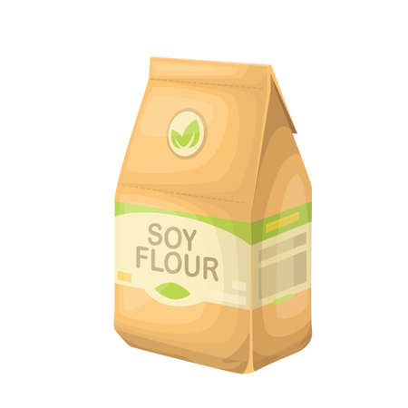 Soy flour in a paper bag. Healthy food vector illustration for design vegetarian diet.