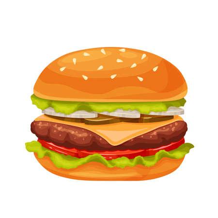Hamburger or cheeseburger cartoon icon Ilustración de vector