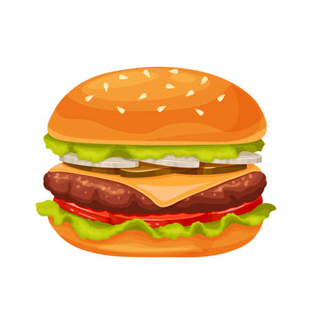 Hamburger or cheeseburger cartoon icon Vektoros illusztráció