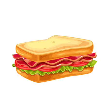 BLT sandwich with bacon, lettuce and tomato vector illustration.