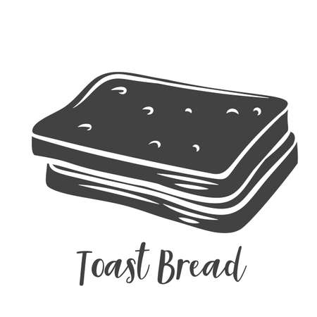 Toast bread slices glyph vector, cut monochrome badge, icon for bakery shop or food design.