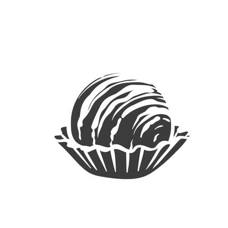 Chocolate candie monochrome glyph icon. Vector illustration of chocolate in retro style.
