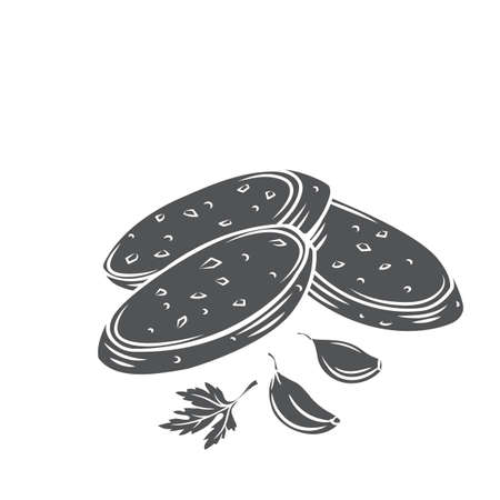 Crunchy garlic bread with garlic cloves and parsley glyph cut vector monochrome illustration of fried french baguette.