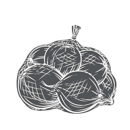 Onions packed in net bag glyph icon, vector cut monochrome badge. Engraved harvest of onion vegetables, farm product.