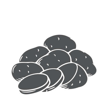 Bunch of potatoes. Raw potato whole root crops and sliced pieces, glyph icon, vector cut monochrome badge.