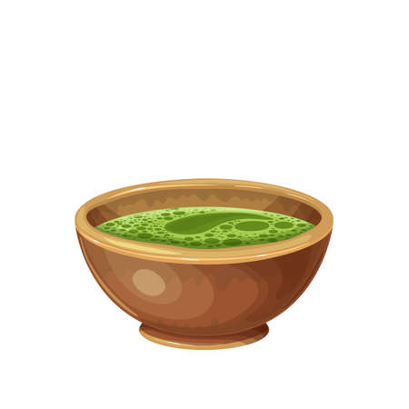 Matcha green tea in a chawan cup Stock Illustratie