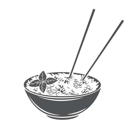 Rice bowl with chinese vertical chopsticks