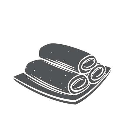 Spring roll chinese cuisine glyph monochrome icon Stock Illustratie