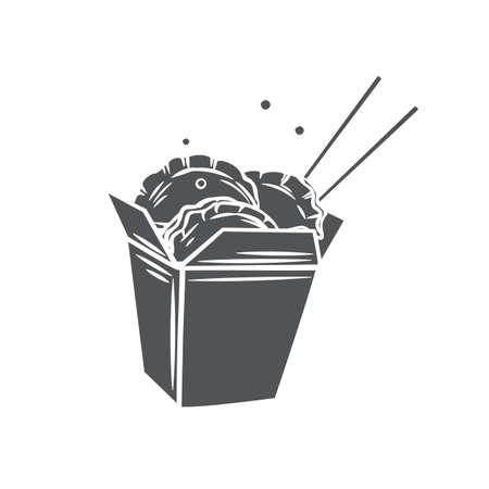 Dumplings in chinese carton box with chopsticks