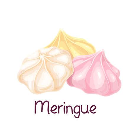 Meringue or meringa icon, french cake