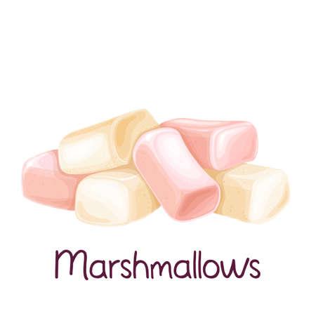 Heap white and pink marshmallow Stock Illustratie