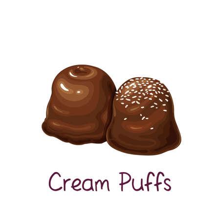 Chocolates and mini cream puffs, profiterole Stock Illustratie