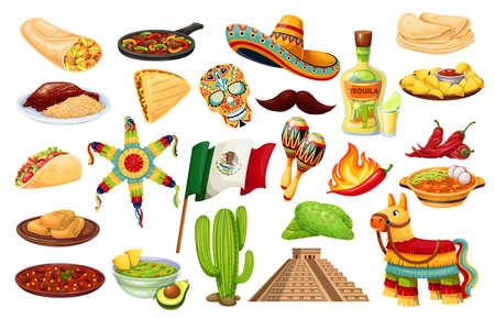 Mexico icons carnival Cinco de mayo Stock Illustratie