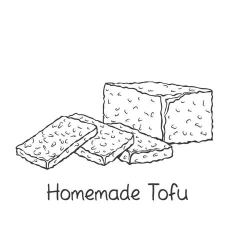 Homemade tofu outline icon Stock Illustratie