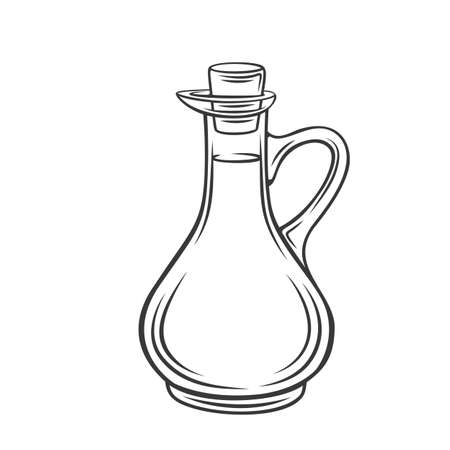 Olive, sunflower corn or soybean oil in a glass bottle outline icon Stock Illustratie