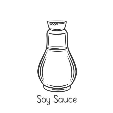 Glass bottle of soy sauce outline icon
