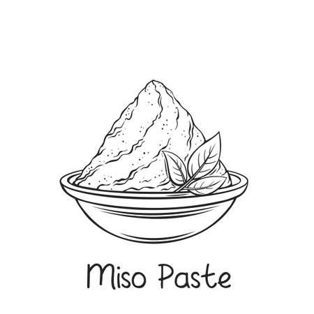 Miso paste in bowl vector icon