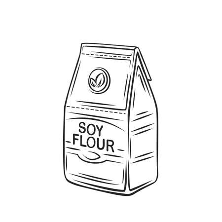 Soy flour in a paper bag outline icon