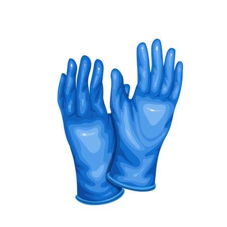 Blue medical latex protective gloves. Stock Illustratie
