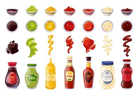 Sauces bottle and bowl, splash strips