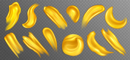Realistic golden acrylic paint smears or drops Stock Illustratie