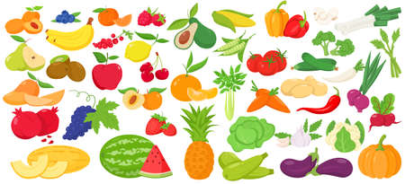 Fruit, berry and vegetables color icon set