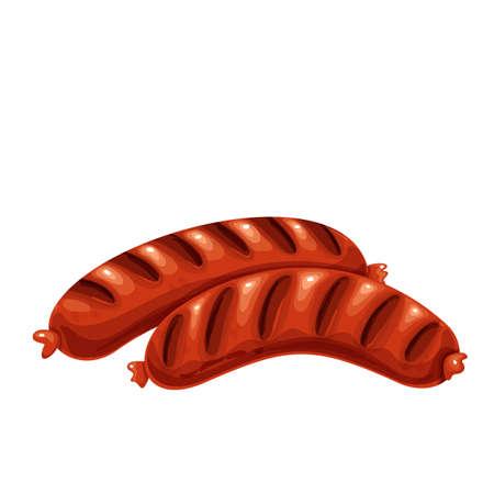 Grilled Sausages illustration, bbq food