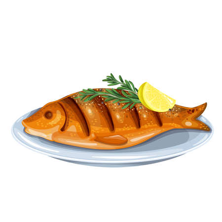 Grilled fish with rosemary and lemon