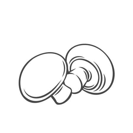 Champignon mushrooms vegetable outline icon Stock Illustratie