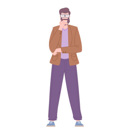 Man stands in pose of thinking person Vector Illustration