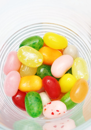 sweet candy jelly beans in glass this colorful photo