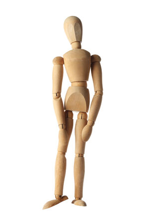 heartbroken: mannequin old wooden dummy feeling sad, badly and heartbroken acting isolated on white