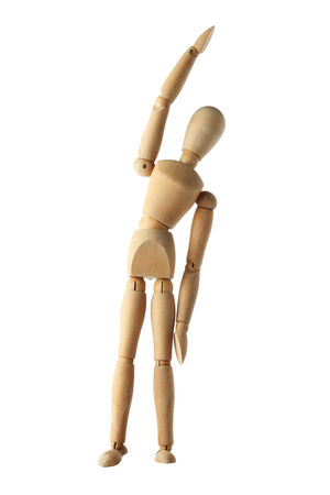 acting: mannequin old wooden dummy exercise acting isolated on white Stock Photo