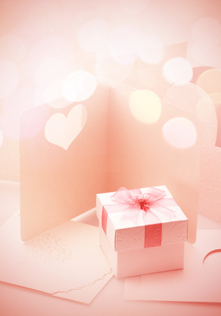 bogey: The Small gift box on around of bogey pink tone for background